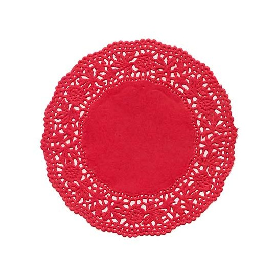 10 Small Red Rose Doilies ~ Germany ~ 4""