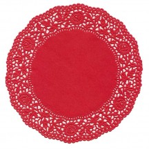 10 Red Rose Doilies ~ Germany ~ 6""