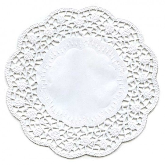 15 White Rose Doilies ~ Germany ~ 5 7/8""