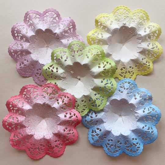 "Small Paper Lace Flower Bouquet Holders in Mixed Multi ~ Set of 25 ~ 3-3/4"" across"