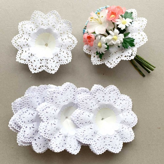 "Small Paper Lace Flower Bouquet Holders in White ~ Set of 25 ~ 3-3/4"" across"