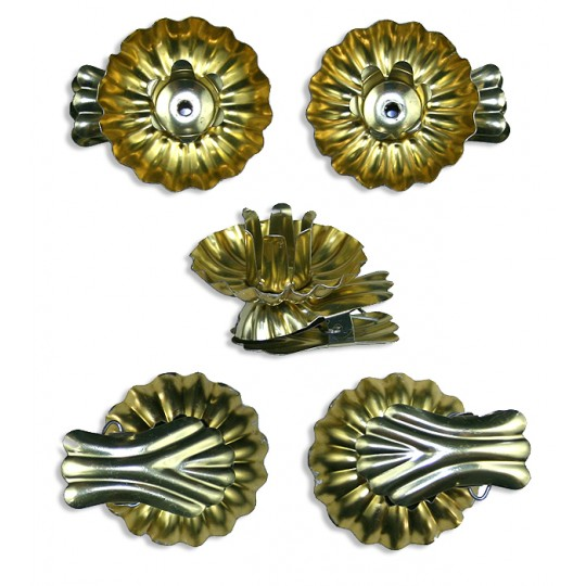 10 Gold Fluted Shell Candle Clips ~ Made in Germany