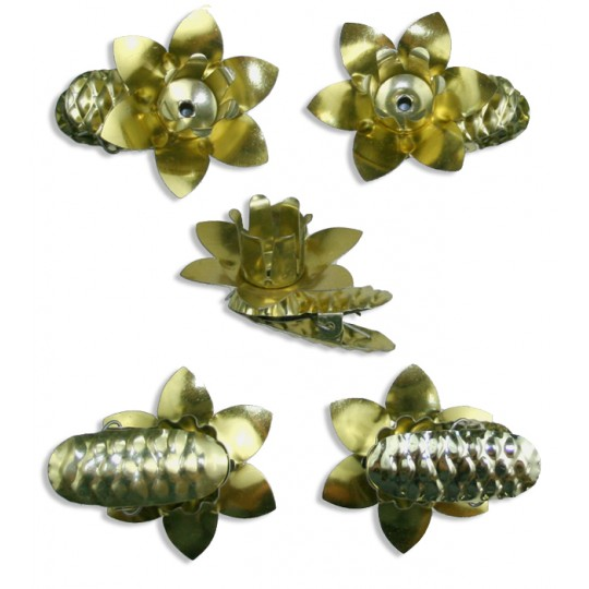 10 Gold Floral Candle Clips ~ Made in Germany