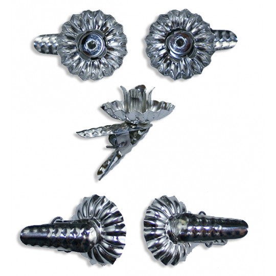 10 Small Silver Pine Cone Candle Clips ~ Made in Germany