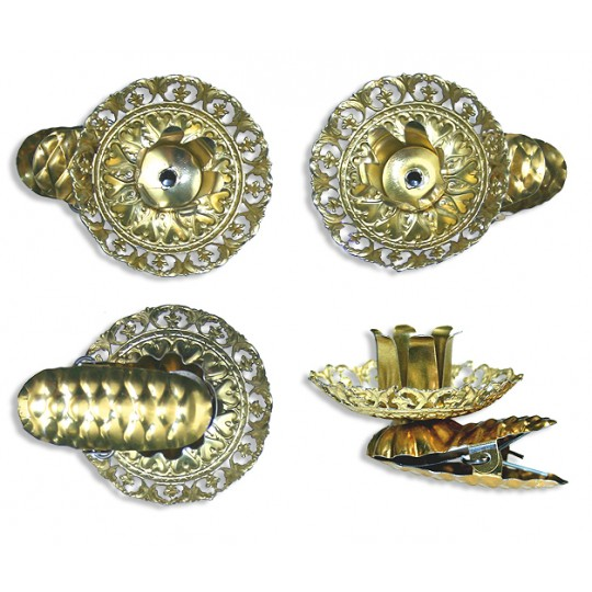 8 Fancy Gold Filigree Candle Clips ~ Made in Germany