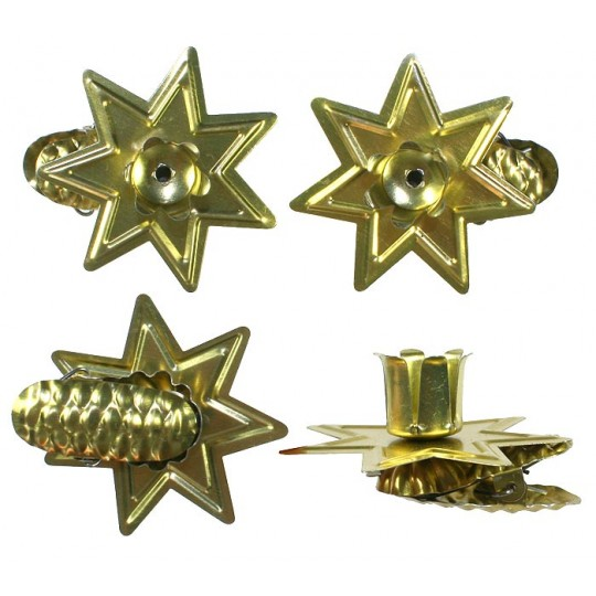 8 Gold Star Candle Clips ~ Made in Germany