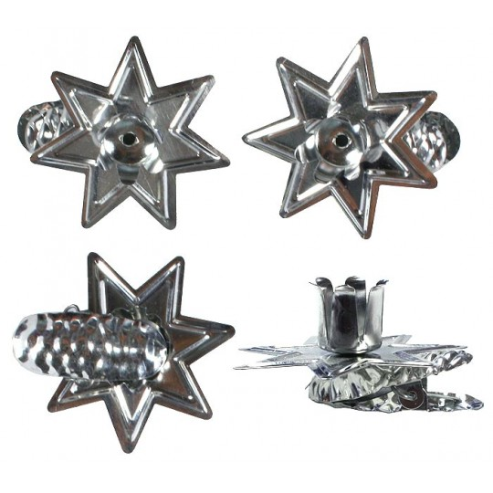 8 Silver Star Candle Clips ~ Made in Germany
