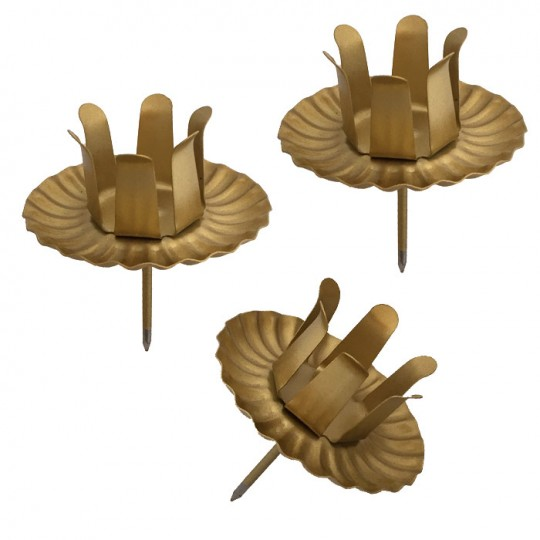 8 Large Matte Gold Advent Wreath Candle Holders ~ Made in Germany