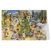 Angels Decorating the Tree Advent Calendar Card ~ Germany ~ Hummel