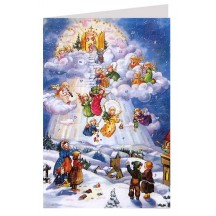 Stairway from Heaven Angels Advent Calendar Card ~ Germany