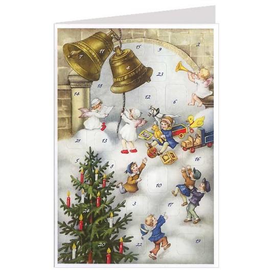Christmas Bells Angels Advent Calendar Card ~ Germany