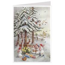 Angels Feeding Deer Advent Calendar Card ~ Germany