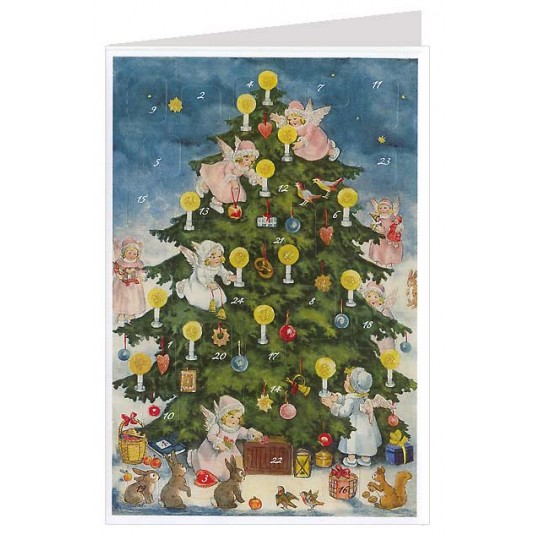 Decorating the Tree Angels Advent Calendar Card ~ Germany