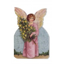 Pink Angel with Tree Advent Calendar Card ~ Germany
