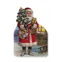 Santa with Teddy Bear Advent Calendar Card ~ Germany