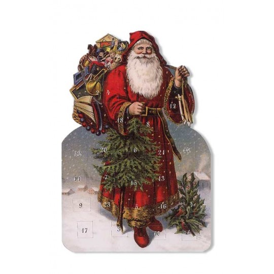 Saint Nick with Tree and Skates Advent Calendar Card ~ Germany