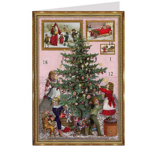 Decorating the Tree Advent Calendar Card ~ Germany