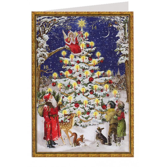 Forest Christmas Tree Advent Calendar Card ~ Germany