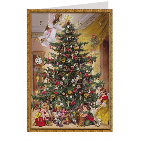 Angels Decorating the Tree Advent Calendar Card ~ Germany
