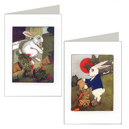 Pair of Garden Easter Bunny Note Cards