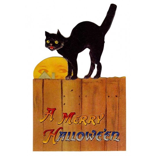 Black Cat and Moon Halloween Easel Card