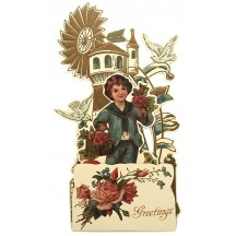 Petite Vintage Valentine Pulldown Card ~ Boy with Birds & Flowers