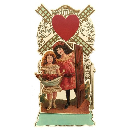Petite Vintage Valentine Pulldown Card ~ Girls with Windmill
