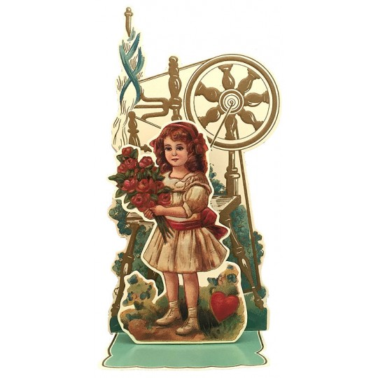 Petite Vintage Valentine Pulldown Card ~ Girl with Flowers & Spinning Wheel