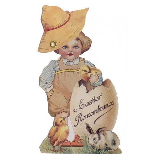 Victorian Boy and Egg Moving Easter Card