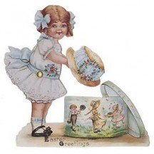 Victorian Girl with Easter Bonnet Moving Card