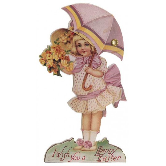 Victorian Girl with Umbrella Moving Easter Card