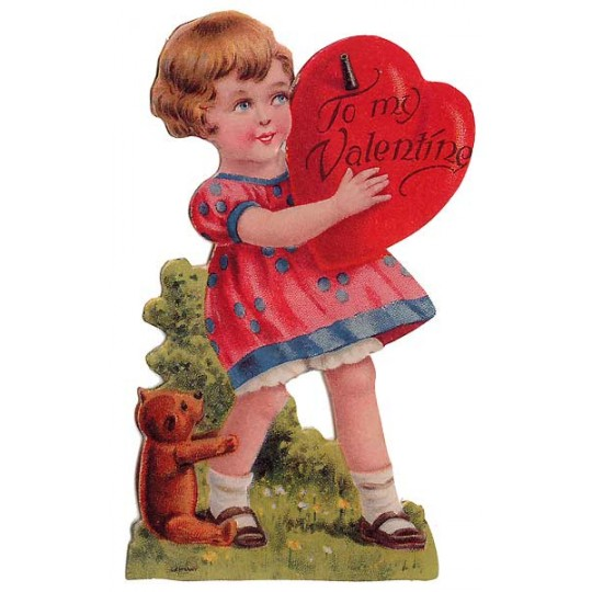 Girl & Teddy Bear Easel Valentine Card
