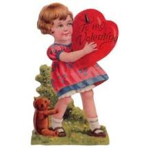 Girl & Teddy Bear Easel Valentine Card