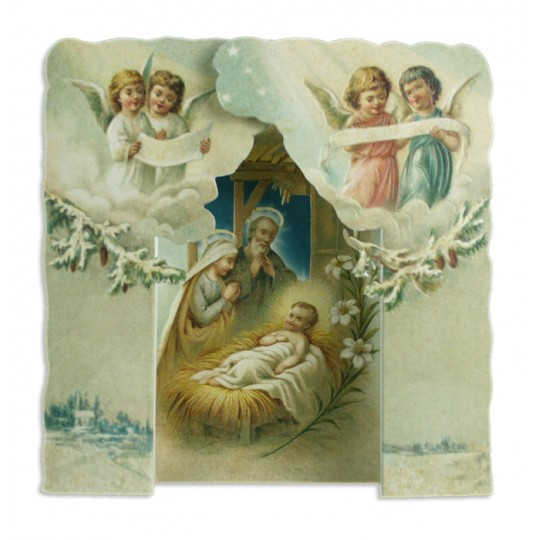 3D Standing Angels and Nativity Scene Christmas Card