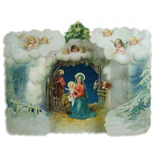 Vintage Religious Nativity Christmas Ornament: 3D Standing Religious Nativity Scene Christmas Card
