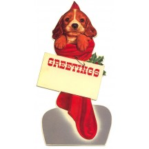 Christmas Dog in Stocking Standing Easel Card