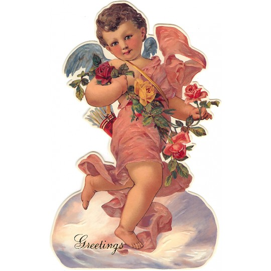 Cupid with Roses Standing Easel Valentine Card