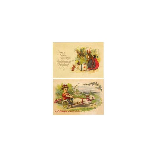 Pair of Large Victorian Bunny and Egg Easter Postcards