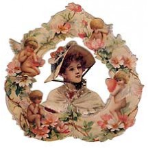 Standing Victorian Valentine Card with Cherubs and Flowers