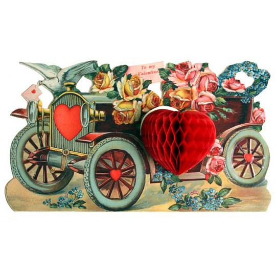 Valentine Honeycomb Car Easel Back Valentine Card