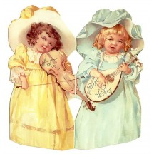 Girls with Violins Standing Victorian Card