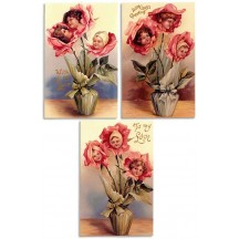 Trio of Embossed Flower Children Valentine Postcards