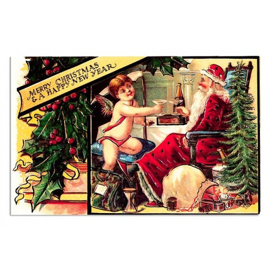 Heavily Embossed Santa and Cupid Postcard