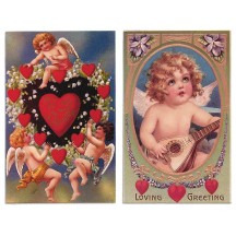 Pair of Old Fashioned Cherub Valentine Postcards