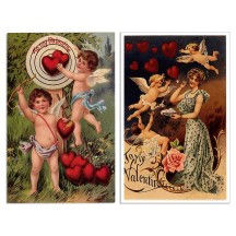 Pair of Old Fashioned Cupid Valentine Postcards