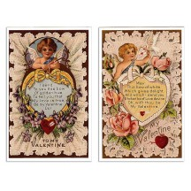 Pair of Old Fashioned Lacy Valentine Postcards