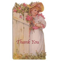 Small Victorian Girl by Fence Thank You Card