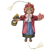 Girl with Flowers Jumping Jack Card for Christmas