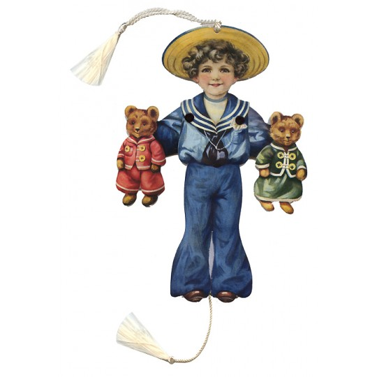 Sailor Boy with Bears Jumping Jack Card for Christmas