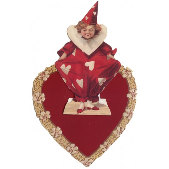 Red and White Valentine Clown Easel Card